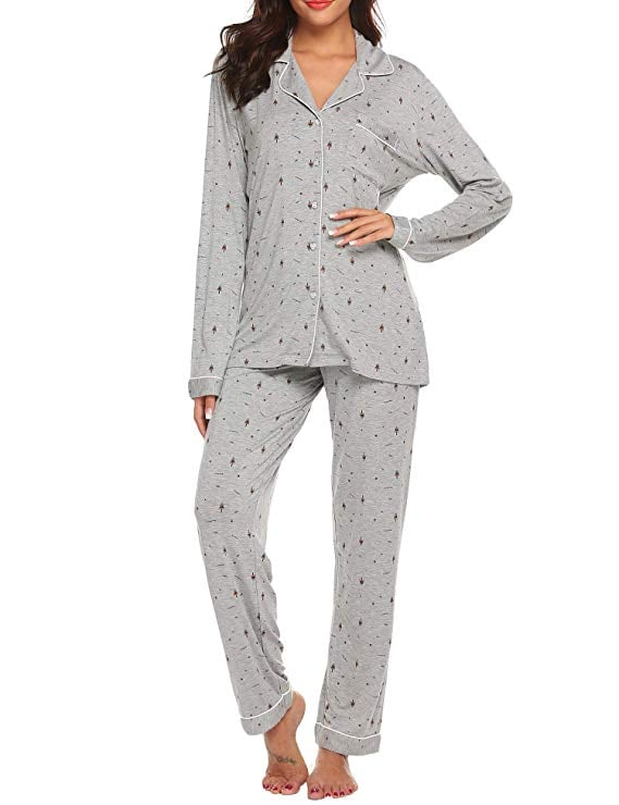Ekouaer Long Sleeve Button Down Sleepwear