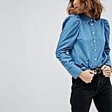 ASOS Denim Shirt With Puff Sleeves