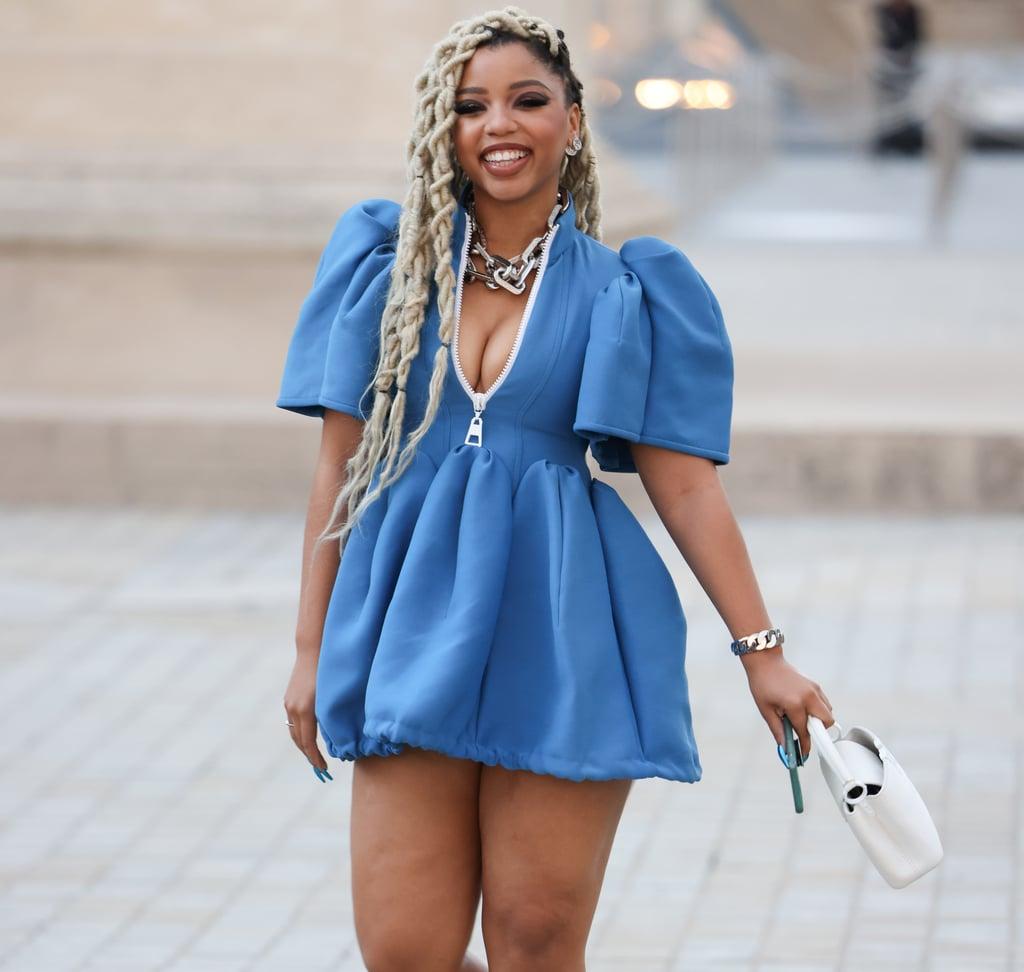 Chloe Bailey's Blue Louis Vuitton Minidress at Fashion Week