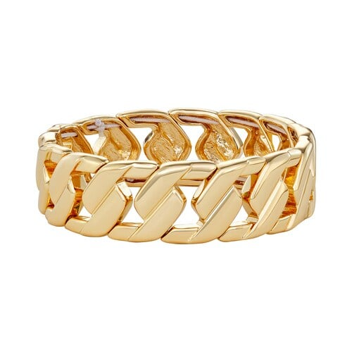 Dana Buchman Gold Tone Folded Links Stretch Bracelet