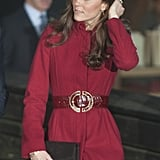 Kate has the 'Muse' by Stuart Weitzman in four different colors — seen here in black for a visit to Copenhagen in 2011.