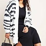 Line & Dot Zebra Eyelash Cardigan