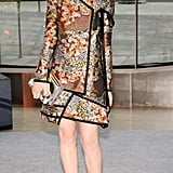 Dakota Fanning arrived at the event in a floral-print Proenza Schouler ensemble and black lace-up heels.