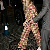 Gigi stepped out in yet another plaid look from Jeremy Scott on Sept. 8 and wore a pair of optic-white Doc Martens combat boots.