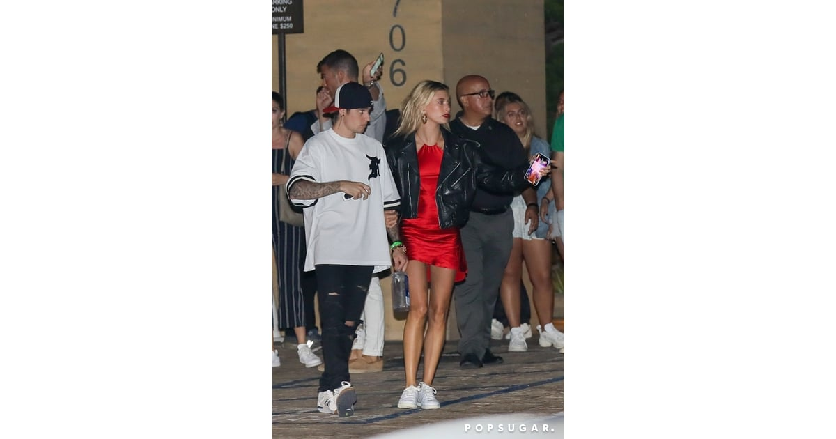 Hailey Baldwin Red Dress and Leather Jacket With Justin ...