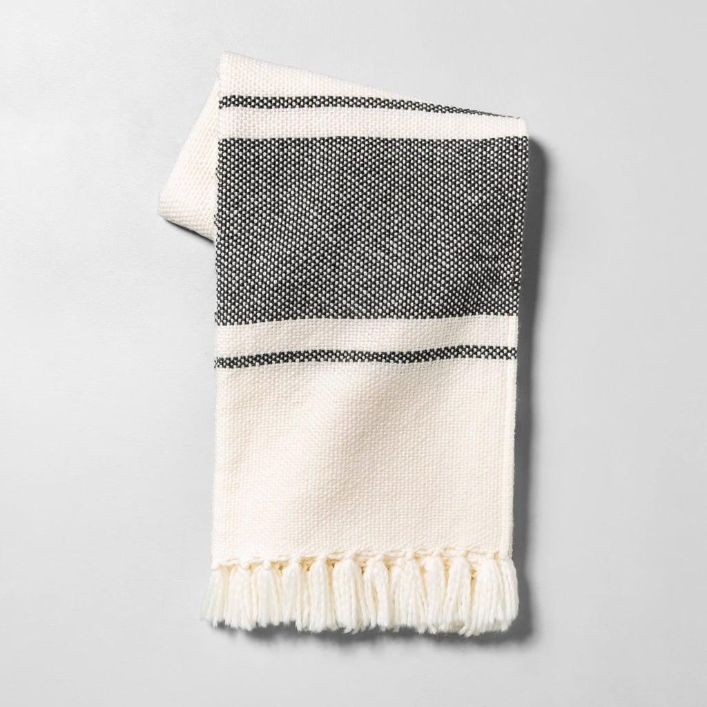 Throw Blanket in Sour Cream / Gray Stripe