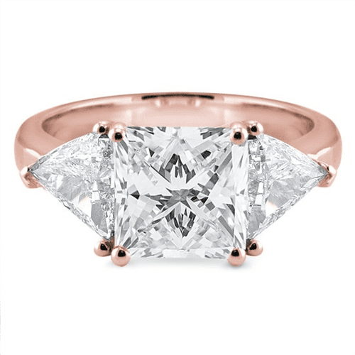 Three Stone Engagement Ring Setting With Trilliants in 14K Rose Gold