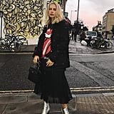 Take Your Chiffon Pleated Skirt Into the Season With a Parka and Metallic Booties