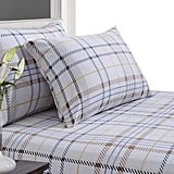 Tribeca Living Plaid Printed Deep Pocket Flannel Sheet Set