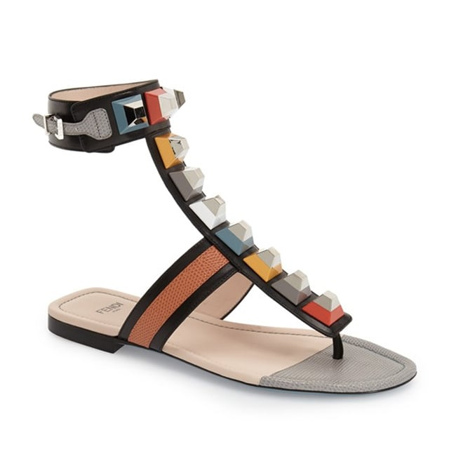 Fendi 'Rainbow' Studded Colorblock Gladiator Sandal ($800)
