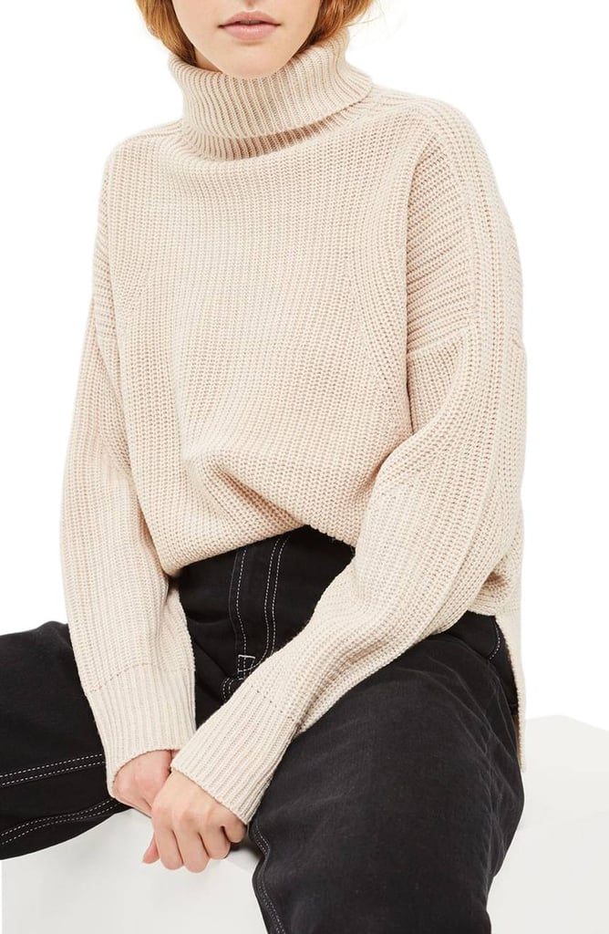 Topshop Women's Boxy Ribbed Roll Neck Sweater