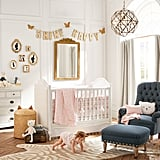"On what they consider when designing a nursery vs. any other room of the house: ""We are always drawn to things that feel nostalgic, and we love clever takes on classic pieces — scattered stars and hearts, woven hampers with bunny ears, vintage-inspired brass animal figurines, and denim rocking chairs. We approached designing a nursery in the same way we do all of our projects: by creating little imaginative worlds with touches of unexpected whimsy."""