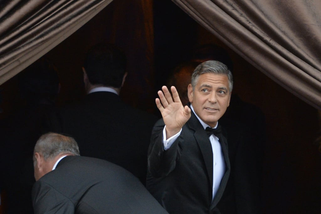 George Clooney is married! The actor's rep confirmed the news, writing in a statement that the pair were married in a private ceremony. George and various wedding guests were spotted arriving to his wedding at Hotel Aman via water taxi in Venice, Italy, on Saturday. Earlier in the day, the groom was spotted enjoying an alfresco breakfast with Rande Gerber and Cindy Crawford. Guests at the pair's nuptials include Matt Damon and his wife, Luciana Damon; John Krasinski and Emily Blunt; and Anna Wintour, who took a break from Paris Fashion Week to attend George's big day. On Friday they were all spotted arriving in Venice, where they boarded private boats to take them to the bride and groom. Later, the gang was all seen attending a rehearsal dinner at a local eatery. Although Amal and George were reportedly friends before they got romantic, they only started to spark romance rumors last October. The pair got engaged in April, following a romantic safari journey in Africa and a controversial date at the White House, where George screened The Monuments Men for President Barack Obama. (Critics raised eyebrows at the fact that Obama was hanging out with lawyer Amal, who is currently working on WikiLeaks founder Julian Assange's extradition case.) It appears that the accomplished lawyer has fit in with George's impressive group of friends, as she was spotted attending Angelina Jolie's Global Summit to End Sexual Violence in Conflict in London back in June.