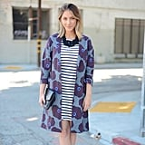 A Graphic Coat, Striped Dress, and Statement Necklace