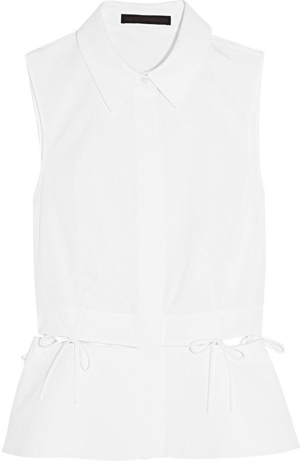 Alexander Wang Cutout Piqué-Trimmed Cotton-Poplin Shirt ($525)