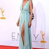 Heidi Klum's legs were showing under an Alexandre Vauthier gown at the Emmy Awards.