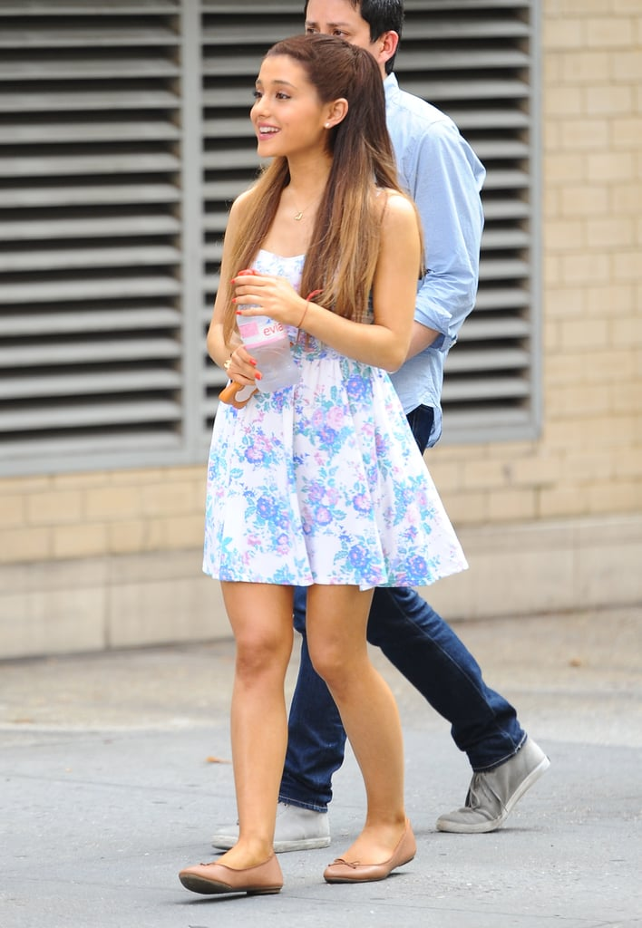 Ariana Grande Outfit: A Floral Dress + Flats