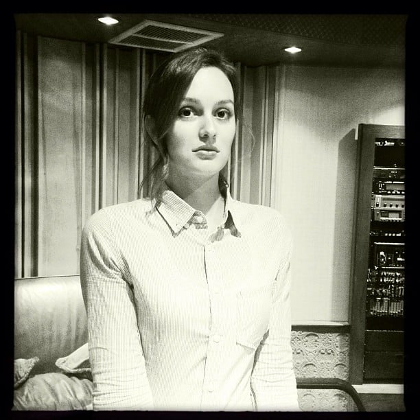 Leighton Meester struck a pensive pose while in the studio. Source: Instagram user itsmeleighton