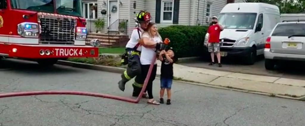 Firefighter's Fire Truck Hose Gender Reveal