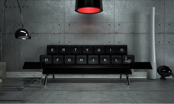 Behold: the QWERTY sofa from Zo_loft Architecture that's not so much a QWERTY sofa as it is an ERTY one, thanks to a few key letters missing. Do you like it or no?