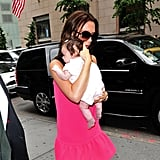 Victoria Beckham carried a tiny Harper in her arms during a September 2011 visit to NYC.