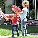 Zuma Rossdale and Kingston Rossdale brought gifts to a birthday party with mom Gwen Stefani.