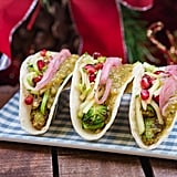 Plant-etarium Street Tacos With Brussels Sprouts, Salsa Verde, Pickled Red Onions, and Apple and Pomegranate Slaw