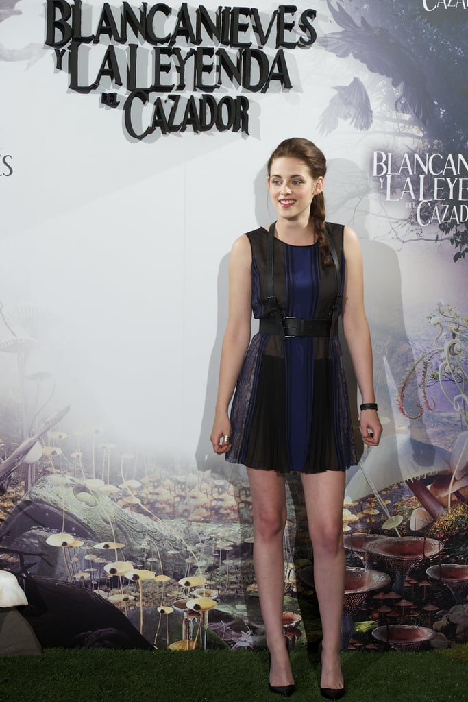 Kristen Stewart posed in a BCBG dress with leather embellishments for the Snow White and the Huntsman photocall in Madrid.