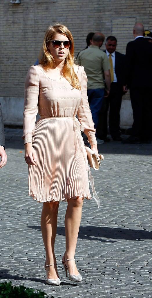 Princess Beatrice Wearing Her Valentino Heels to Prince Amedeo's Wedding