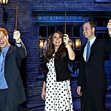 Prince William, Prince Harry, and Kate Middleton channeled their inner wizards during an April 2013 visit to the Harry Potter set in north London.