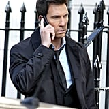 Dylan McDermott looked serious on the set of his and Milla Jovovich's new movie, Survivor, in London on Tuesday.