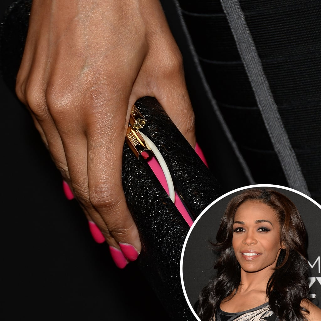 Also at the premiere of Lifetime's Call Me Crazy: A Five Film, singer Michelle Williams wore a hot-pink manicure.