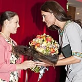 Kate attended an April 2012 performance of African Cats in London and received flowers from a fan backstage.