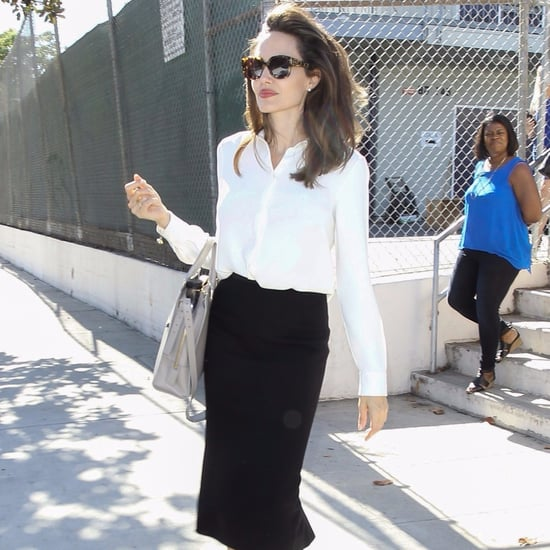 Angelina Jolie Black Pencil Skirt and Blouse