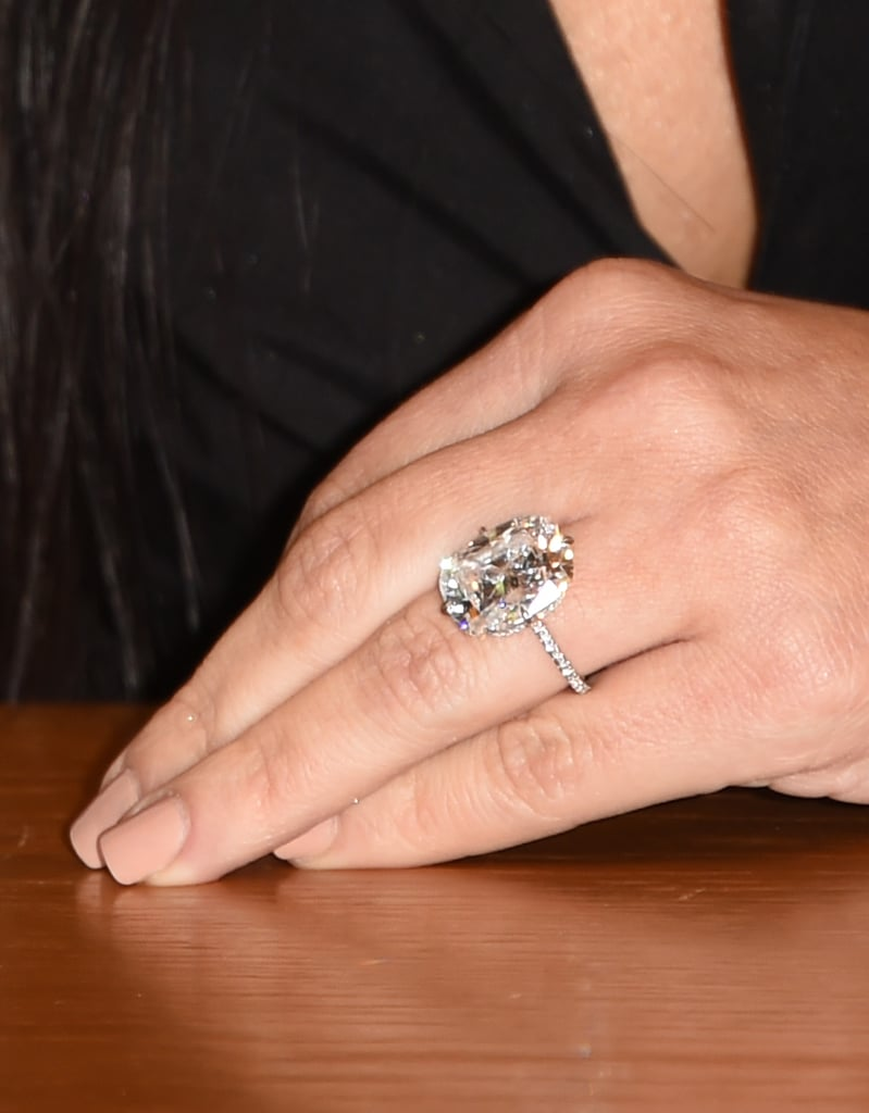 Kim wore her striking engagement ring to the book signing Kim