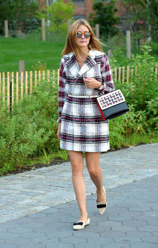 Olivia Palermo Wearing Plaid Coat