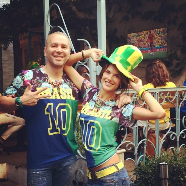 Alessandra Ambrosio and a friend were dressed to the nines to watch the game from São Paulo.