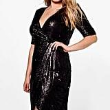 Boohoo Wrap Sequin Dress