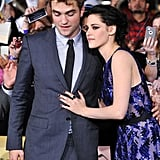 Kristen Stewart leaned on Robert Pattinson near the press line.