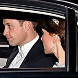 Kate Middleton Wearing a Blue Lace Dress and Tiara