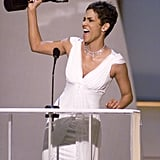 Halle Berry accepted the 2003 SAG award for outstanding performance by a female actor in a leading role for Monster's Ball.