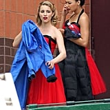 Dianna Agron and Naya Agron wore matching costumes while shooting a scene on the set of Glee.