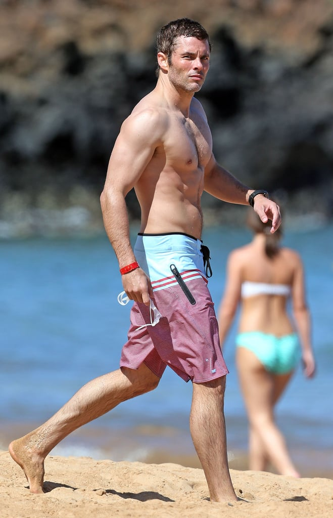 James Marsden heated up the beach in Hawaii on Friday, showing off his chiseled abs while making a splash in the ocean. The actor was much more clothed in his most recent role as Cyclops in X Men: Days of Future Past, but he'll be stripping down again in his next film. In the latest Nicholas Sparks adaptation, The Best of Me, James plays Dawson, and if the swoon-worthy trailer is any indication, he'll be both shirtless and in water on screen, too. But for now, we'll just have to enjoy his fun in the sun on vacation. Keep reading for more sexy photos of James in action! Source: AKM-GSI/FameFlynet