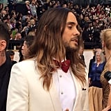 Jared Leto nailed his look with a bow tie and cream-colored jacket.