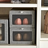 Grey Cambridge Drop-Front Shoe Box