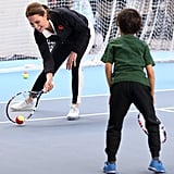 She Practiced Her Serve During a Tennis Game With Kids in London