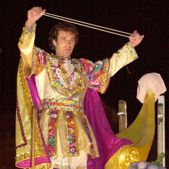Luke Perry got dressed up to ride a float in New Orleans in February 2000.