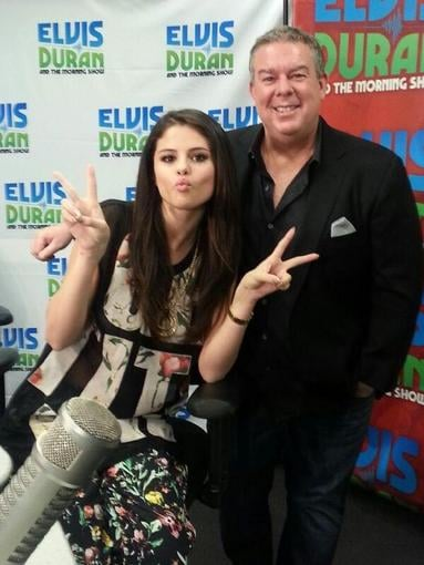 Selena Gomez wore a floral 3.1 Phillip Lim ensemble to hang with radio show host Elvis Duran. Source: Twitter user selenagomez