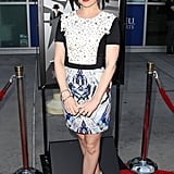 At the Now You See Me screening in LA, Isla Fisher was every bit the fashion plate in a multicolored minidress and black Brian Atwood pumps.