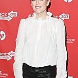 A closer look at Julianne Moore's blouse reveals an ornate ruffled collar.